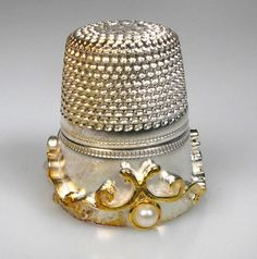 thimble sterling silver gilded band pearls wengert Pforzheim Germany