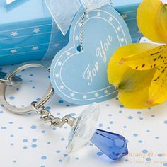 Crystal blue baby pacifiers baby birthday party gift keychain gift