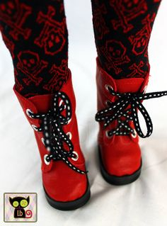 Red Leather Knee High Boots for American Girl 18 Inch Dolls - by itty. American Girl Doll Shoes, American Girl Diy, Girl Doll Clothes, Doll Clothes Patterns, Ag Dolls, Girl Dolls, Our Generation Doll Clothes, Red Leather, Leather Boots