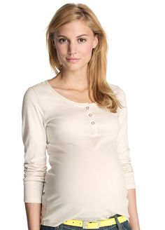 Esprit - Organic Cotton Henley in Off-White - Luxurious feel of organic cotton in an everyday top