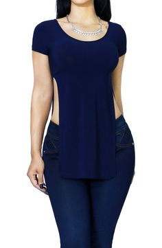 Double Deep Side Slit Round Neck Tunic Fashion T Shirt Sexy at Amazon Women's Clothing store: