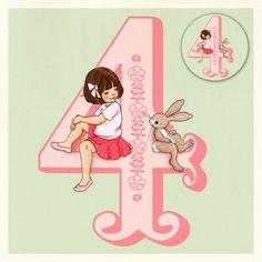 Wenskaart met button Belle & Boo 4 jaar