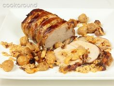 Roasted Pork with chestnuts, arrosto di maiale con castagne, a famous dish in Cuneo, Piedmont, Italy