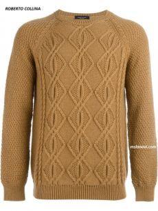 Мужской вязаный свитер от ROBERTO COLLINA (вязание спицами)