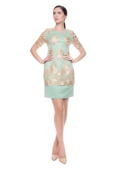 Darcy Vintage Gold Lace Dress www.darcyclothing.ie