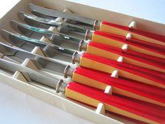 FINN – Retro Frukt Kniver fra Geilo Knivfabrikk Sett av 6 Flatware, Cool Stuff, Retro, Tableware, Vintage, Cutlery Set, Dinnerware, Tablewares, Dishes
