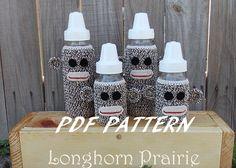 Sock Monkey Baby Bottle Cover crochet PATTERN by LonghornPrairie, $4.75