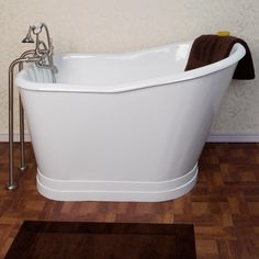 "52"" Winton Cast Iron Skirted Slipper Tub - No Overflow  http://www.signaturehardware.com/bathroom/bathtubs/52-winton-cast-iron-slipper-tub-with-skirt-continuous-roll-top-no-faucet-holes.html"