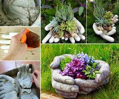 Cement Hand Garden Planters Using Rubber Gloves
