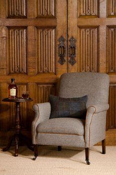 Bowmore Chair - Displayed in Heather Harris Tweed with Brompton Tan hide piping