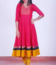 Red, block-printed #anarkali, Shop at http://bit.ly/1wuzfov