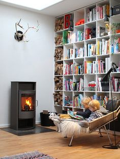 Love the bookcase and fire.... Perfect for winter afternoons spent reading