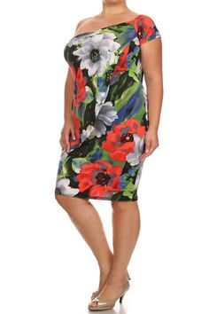 73706800110 Plus Size One Shoulder Asymmetric Peplum Dress – PLUSSIZEFIX Plus Size  Clubwear