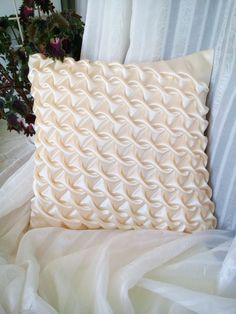 Velvet Smocked Pillow Yellow Cushion Cover Yellow Pillowcase, Velvet Cushion, Yellow Throw Pillow, Ivory White Pillow, Gift For Mom Yellow Throw Pillows, Yellow Cushions, Bed Pillows, Smocking Tutorial, Smocking Patterns, Sewing Patterns, Yellow Cushion Covers, Canadian Smocking, Curtain Patterns