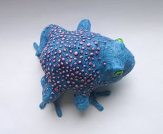 Blue Frog - Blue Toad, Handmade Frog Sculpture, Frog Figurine, Toad Design, Blue Art Object, Paperweight by AlanJamesdesigns on Etsy