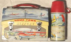 Vintage Rare Home Town Airport Dome Lunch Box 1960