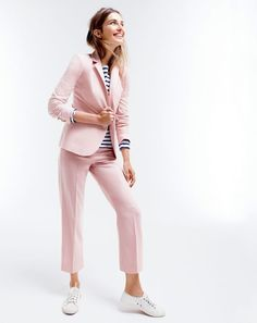 J.Crew women's Campbell blazer, Saint James® for J.Crew slouchy T-shirt, patio pant and Tretorn® canvas T56 sneakers.
