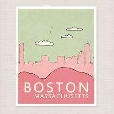 Nursery Wall Art: Boston skyline poster