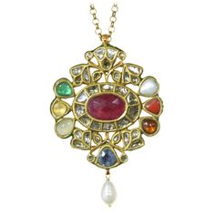 Mughal Style Indian Pendant with Rose Cut Diamonds and Nine Gems | 1stdibs.com