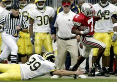2004 The Ohio State University vs that team up north.  Ted Ginn punt return TD