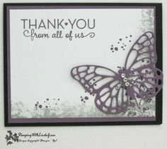 Image of a card created by the Stampin' Up Timeless Textures stamp set and the Butterflies Thinlits. Stamping Up Cards, Rubber Stamping, Hand Made Greeting Cards, Thank You Note Cards, Butterfly Cards, Sympathy Cards, Cool Cards, Homemade Cards, I Card