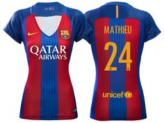 b85c97527f5 Women Barcelona  24 Jeremy Mathieu 2016-17 Home Short Shirt Messi 2016