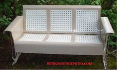 Fresh Tan And White Restoration On An Old Metal Vintage Patio Porch Glider Swing