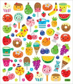Kawaii Fruit Faces Sticker