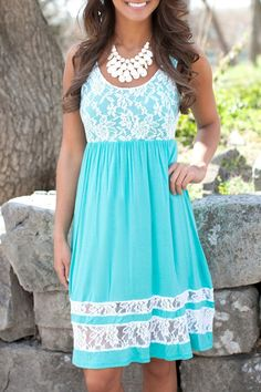 Scoop Collar Lace Spliced Sundress