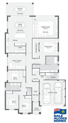 Home Designs Archive Dale Alcock Homes Pty Ltd BC 7309 House Plan – Master bed set up, put bed against WIR, ensuite, kitchen & butlers pantry layout. Dream House Plans, Small House Plans, House Floor Plans, Home Design Floor Plans, Dream Home Design, House Design, Suites, New Home Designs, Home Reno