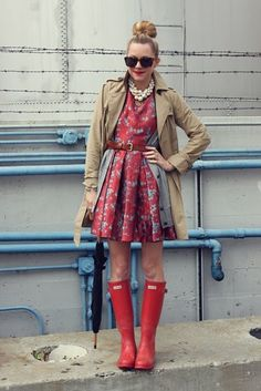Adorable dress, jacket, and Hunter boots... Plus that top knot is precious.