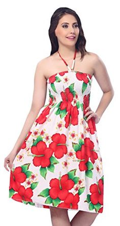 La Leela 3 In 1 Beach Cover UpTop DressMaxi CocktailHalter Neck Red Aloha Valentines Day Gifts 2017 -- See this great product.