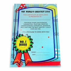 Greatest Boss Certificate The world's greatest boss this certificate of excellence is presented to: For bring smart encouraging thoughtful trusting creative understanding supportive generous brilliant and the best mentor I cloud ever ask for it's a privilege to work with you! No.1 Boss... Size : 13 x 9 inch. | Rs. 124 | Shop Now | https://hallmarkcards.co.in/collections/shop-all/products/gift-for-bosss-day
