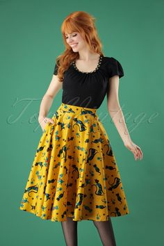 4db607c1a1 50s Lucy Cat Swing Skirt in Mustard. Retro Vintage