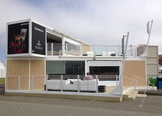 Nespresso Shop in a shipping container at the America's Cup, San Francisco Shipping Container Office, Shipping Container Restaurant, Shipping Container Buildings, Shipping Container Home Designs, Shipping Containers, Tiny Container House, Container Cafe, Cargo Container Homes, Modular Homes