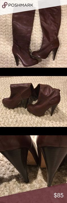 """Dolce Vita Tall Covered Platform Boots-Beautiful! Genuine Leather.  Brown.  Attractive 4 1/2"""" heel.  Worn a handful of times. Very small nick on left heel (shown in pic) Great condition. Dolce Vita Shoes Heeled Boots"""