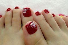 rotes design zehen blume streifen weiß kosmetik