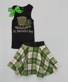Loving this Beary Basics Black 'St Patrick's Day' Tank & Skirt - Toddler & Girls on St Patrick's Day Outfit, Outfit Of The Day, Baby Girl Skirts, Toddler Skirt, Holiday Wear, Cute Skirts, Skirt Outfits, St Patricks Day, Toddler Girls