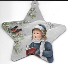 """E-Packet - """"Sweet Carols Of Joy"""" Christmas ornament. A precious little girl with her two Robin friends, singing together Sweet Carols of Christmas. This design is painted with DecoArt Acrylics on a 4 1/2"""" wooden star ornament."""