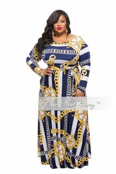 Plus Size Long Sleeve Dress w/ Tie and Side Pockets in Blue, White, and Yellow  - Chic And Curvy