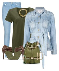 """""""DENIM FUN"""" by arjanadesign ❤ liked on Polyvore featuring 7 For All Mankind, American Vintage, Frame Denim, Nine West, MANU Atelier, Michael Kors, Fremada, women's clothing, women and female"""