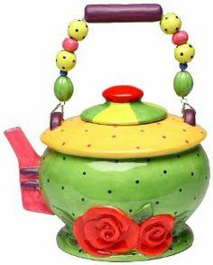 Amazon.com: Appletree 6 1/4-Inch Sugar High Social Babs Ceramic Teapot: Kitchen & Dining