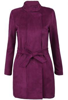 Purple Stand Collar Belt Zipper Outerwear