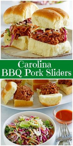 Recipe for Carolina BBQ Pork Sliders. The pork for these sliders is made easy in the slow cooker with just a few ingredients. Slow Cooked Meals, Slow Cooker Pork, Slow Cooker Recipes, Cooking Recipes, Crockpot Recipes, Pulled Pork Sliders, Slider Recipes, Sandwich Recipes, Sandwiches