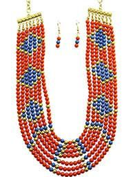 MULTI STRAND BIB  NECKLACE AND EARRING SET