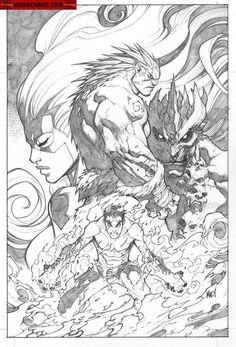 Kwan Chang :: For Sale Artwork :: Inhuman # 3 by artist Joe Madureira Comic Book Artists, Comic Artist, Comic Books Art, Joe Madureira, Black And White Comics, Comic Layout, Bd Comics, Comic Panels, American Comics