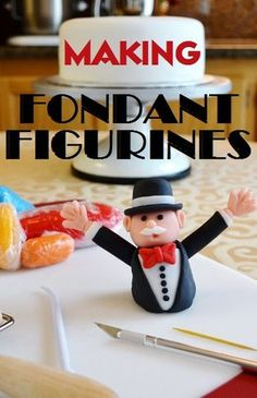 Monopoly Cake Topper by Cakewalker + Tutorial on making fondant figurines. Cakes To Make, Fancy Cakes, How To Make Cake, Fondant Icing, Fondant Toppers, Fondant Cakes, Cupcake Cakes, Fondant Tips, Marshmallow Fondant