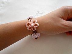 Bracciale fiori, tessitura perline, romantico, stile boho, di Ggioielli €27.00 via Etsy