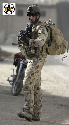 This Action Shot presents Military Uniforms and Tactical Gear in a Combat Environment. The DPDU (Disruptive Pattern Desert Uniform) is a 5 Colors Australian Camouflage. Royal Military Surplus offers a large selection of DPDU Uniforms and Accessories. Visit our Website and shop with us at www.royalmilitarysurplus.com