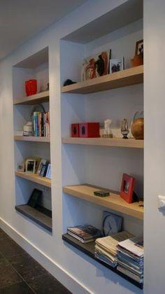 bookshelves built in Recessed Shelves, Wall Shelves, Shelving, Dining Room Shelves, Home Libraries, Built In Bookcase, Shelf Design, Drywall, Interior Inspiration